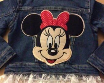 Girls 2T jean jacket-Minnie Mouse-3T girls jacket-Baby Girl Denim-12-18 months girls-toddler jean jacket-2nd birthday