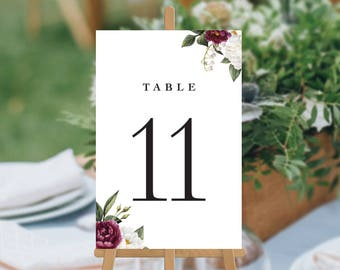 Wedding Table Numbers, Printable Digital File, White and Burgundy Roses, Floral Watercolour Wedding Table Cards, Kharla Suite