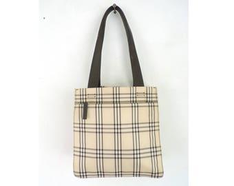 90s tartan bag, nylon plaid bag, 1990s shoulder bag, liz claiborne designer handbag purse, beige brown, faux leather handles