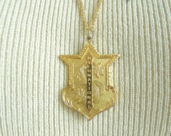S international pendant necklace, shield pendant gold metal chain link necklace, 80s military necklace, 1980s costume jewelry, jewellery