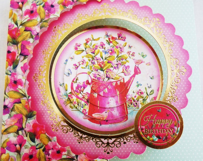 Birthday Card, 3 D Pyramid Decoupage, Flowers, Floral, Female, Any Age,  Mother, Sister, Daughter, Niece, Aunt