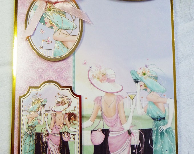 Art Deco  Birthday Card, Greeting Card, Cocktails at the Races,  Female, Any Age, Mother, Sister, Daughter, Niece, Aunt