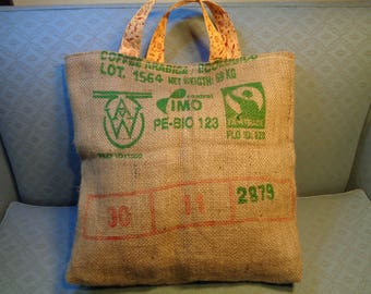 hessian jute burlap shopping bag, coffee sack tote bag, jute recycled, bag for life, ethical shopping, fully lined with Indian print
