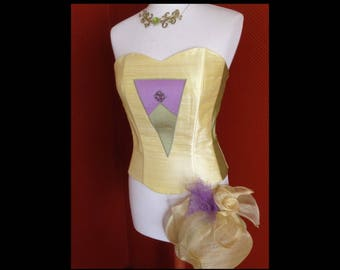 Strapless Corset - Pure silk and gem Strasbourg size 40