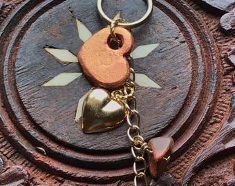 Red Goldstone Heart Keychain