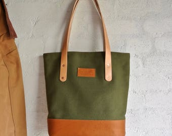 Canvas Tote Bag, Tote Bag, 24 oz Canvas Tote Bag, Shopping Bag, Beach Bag, Carry All Bag, Leather Handle Bag, Shoulder Bag, Hand Bag