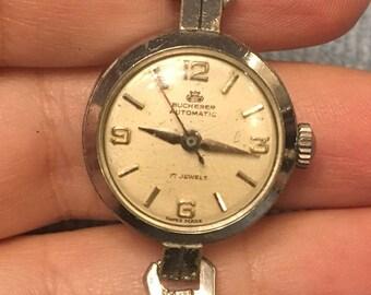 Vintage Bucherer Ladies Watch Automatic 17 Jewels Runs