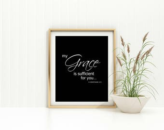 My Grace is Sufficient Printable Black and White JPG