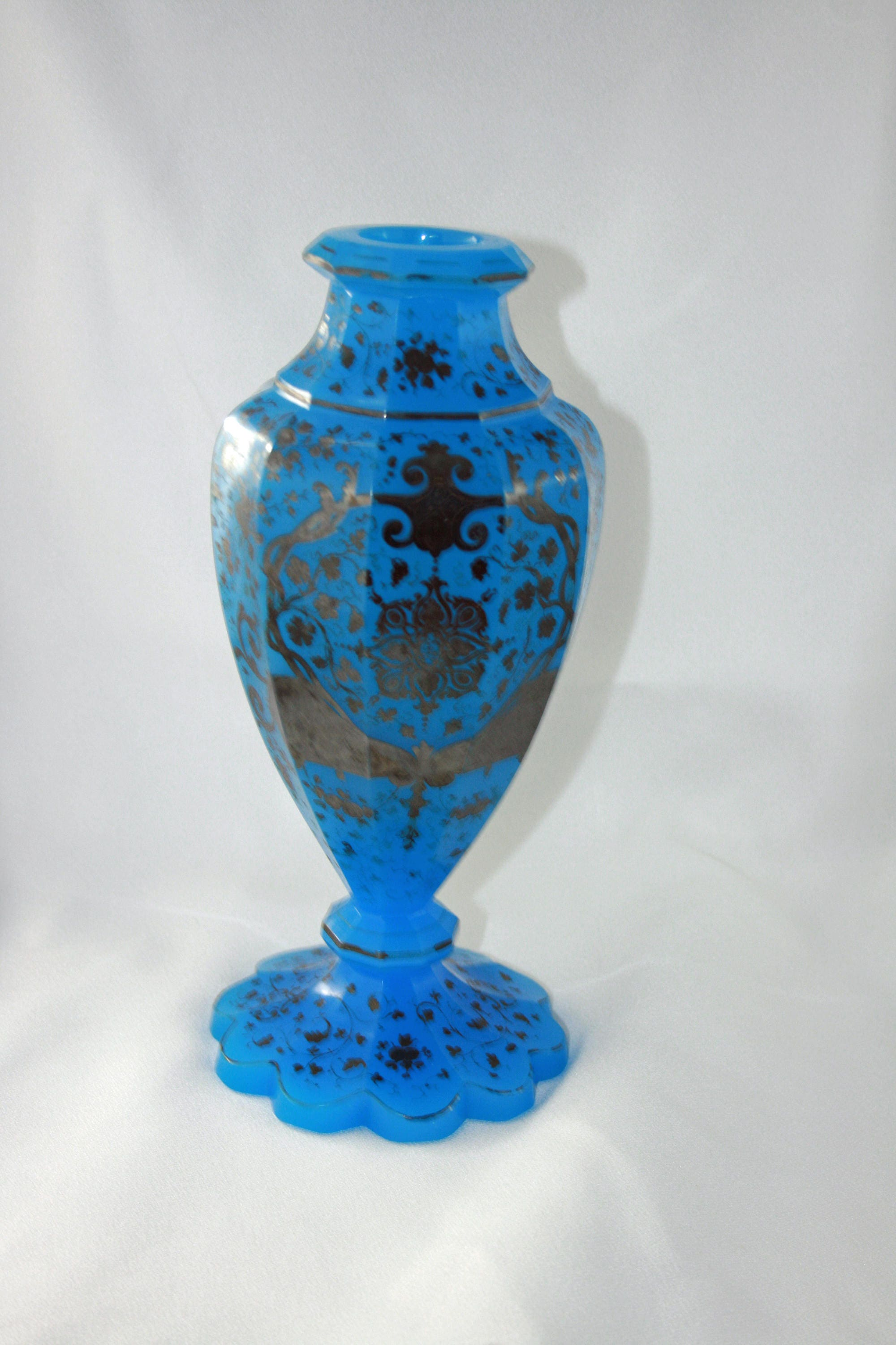 Antique french blue opaline glass vase hand blown with hand antique french blue opaline glass vase hand blown with hand painted silver gilding design 1800 to 1890 made in france venetian milk glass floridaeventfo Gallery