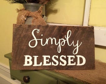Distressed Simply Blessed Sign