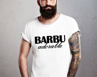 Adorable BEARDED: 100% hand made mens T-shirt