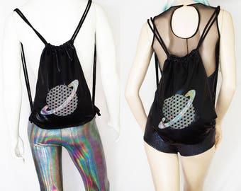 SciFi Festival Backpack Drawstring Bag Shiny Black with Holographic Saturn Applique for Men or Women