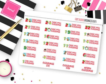 Christmas Countdown Planner Stickers for Erin Condren Life Planner, Plum Paper or Mambi Happy Planner || S2005