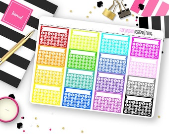 Custom Color Tracker Stickers for Erin Condren Life Planner, Plum Paper or Mambi Happy Planners