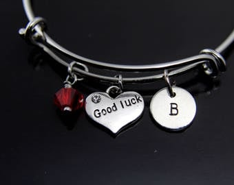 Good Luck Gift Good Luck Charm Bracelet Good Luck Charm Bangle Good Luck Charm Good Luck Jewelry Personalized Bangle Initial Charm