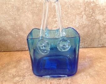 Blue bag shaped glass vase