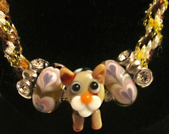 Necklace! Handmade Kumihimo Necklace with Cat Lampwork Bead and Two Heart Beads!