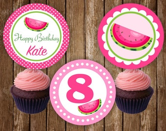 Watermelon Cupcake Toppers, Watermelon Birthday Party Cupcake Toppers, Watermelon Decorations, Pink Green