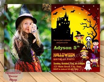 Halloween birthday invitation invite fall costume party boy girl party photo photograph BDH4