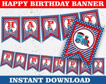 Train / Happy Birthday Banner / Printable / INSTANT DOWNLOAD / vintage / boy / red / blue / BNTrain1