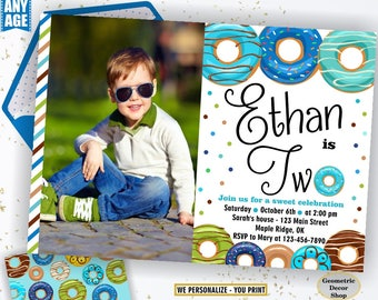 Donut Birthday Party Invitation doughnut Party Invitation boy birthday blue green teal Digital PRINTABLE ANY AGE photo photograph BDonut4