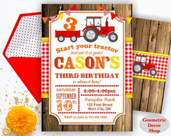 Tractor Birthday Invite, Tractor Invitation, Tractor Birthday Invitations, Tractor Invites Woodland Digital File Red Plaid Boy Girl BDT18/17