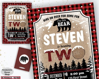 Rustic Lumberjack Birthday Party Invitation / Lumberjack Invite / Red Plaid / Bear / Boy / Two / 2nd / Second / Digital PRINTABLE BDBear2