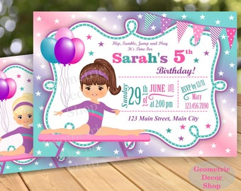 Gymnastic Invitation / Birthday Printable / Gymnastics Invitations / Gymnastic Invite / Party Printable DIY Girl Pink Aqua Green Purple BDG1