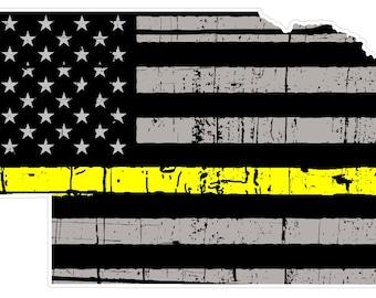 Nebraska State (E28) Thin Yellow Line Dispatch Vinyl Decal Sticker Car/Truck Laptop/Netbook Window