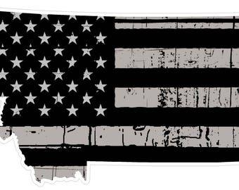 Montana State (N27) Distressed Flag Vinyl Decal Sticker Car/Truck Laptop/Netbook Window