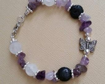Amethyst, Quartz & Lava Stone Aromatherapy Bracelet