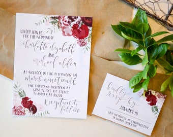 Floral Wedding Invitation/RSVP Card