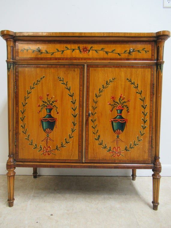 Antique French Adams Paint Decorated Liquor Cabinet Server Console