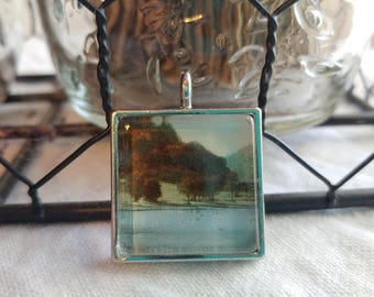 Vintage Postcard Pendent Trees by a Lake