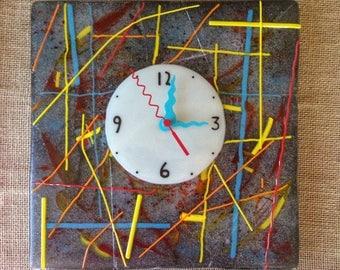 Large Mardi Gras fused glass wall clock