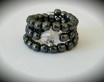 Black Hematite & Crystal Memory Wire Ring