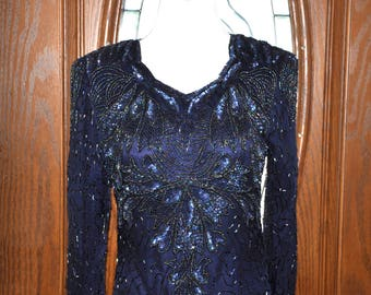 Vintage Navy Blue Beaded Evening Gown, Navy Beaded Gown, Mother of the Bride, Fully Beaded Gown, Beaded Formal Gown, Blue Silk Bead Gown