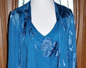 Vintage Teal Dress and Jacket, Turquoise Dress Jacket Set, Vintage Silk Handkerchief Hem, Sheer Teal Vintage Dress, Blue Jacket Dress