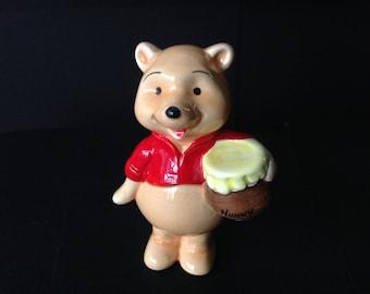 Vintage Disney Winnie the Pooh Figurine Pooh with Jar of Honey 1980s