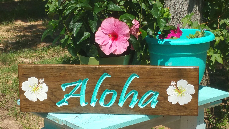 Aloha Wood Sign Aloha Sign Hawaii Wood Sign Hawaiian