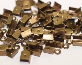 50 Pcs Antique Bronze Leather Crimp Ends with Loop (5x9mm), Cord Ends, Crimp End Findings, Cord tip, Crimps, jewelry crimps,  GNC