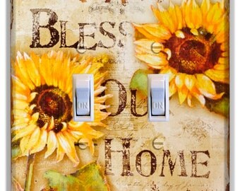 Sunflower Bless Our Home Light Switch Plate Cover Kitchen Decor Home Decor