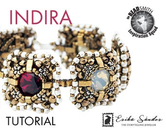 INDIRA bracelet - instant download for the pdf instructions. Bracelet with 4470 cushion cut cabochons, Miyuki Half Tila and seed beads