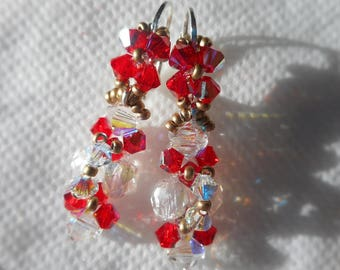 These earrings exquisite red, Crystal, gold Pearl Swarovski Crystal