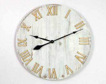 "Large wall clock,  23"", Rustic wall clock, wood wall clock, Wood Clock, Unique wall clock"