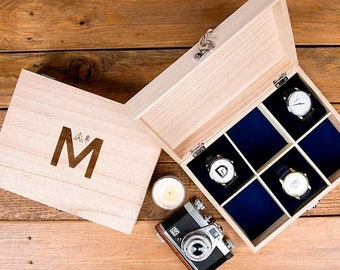 Sale Adventure Alphabet Personalised Watch Box - Gift For Him - Gift for Her - Gift for Husband - Father's Day Gift - Watch Storage - Father