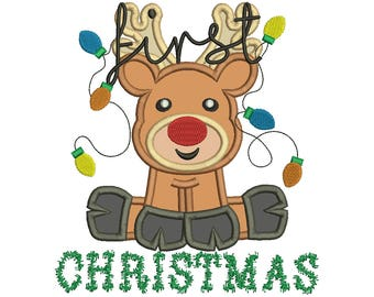 First Christmas Reindeer TINSEL look Applique 1st Rudolph Embroidery Design Instant Download - 0358