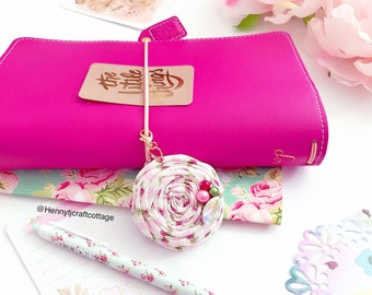Floral pink Rolled Rosette Planner TN charm or clip - Planner accessories | planner goodies | traveler's notebook flower clip charm