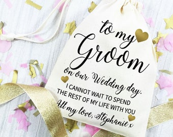 Groom wedding day gift bag. Personalised wedding morning cotton drawstring bag. Gift from the bride. Gift for your husband to be.