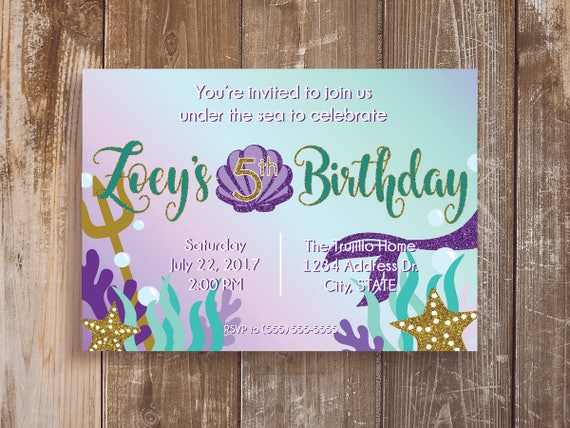 12 teal purple printed mermaid invitations mermaid party il570xn filmwisefo